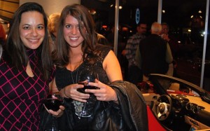 Amy Segreti, left, and friend Julie Dickinson at Tesla party.