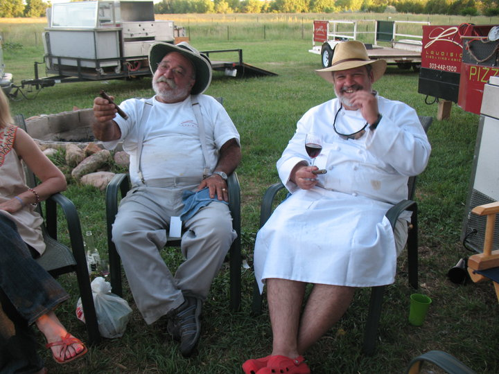 Work finished, Antonio Laudisio and Jerry Cavallo lean back and savor the evening.