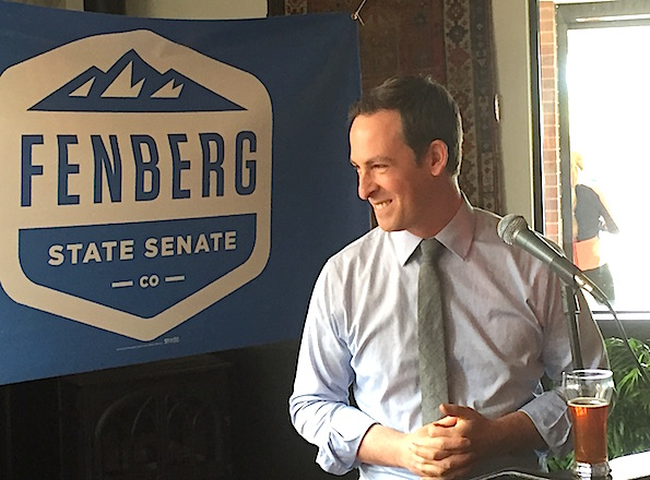 State Senate candidate Steve Fenberg at Sunday's launch.