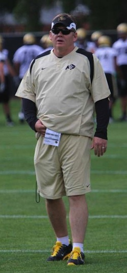 Coach Dan Hawkins during an August team practice (Photo:CUBuffs.com)
