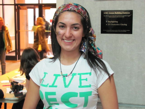 <cutline>CU grad student Leila Amerman was among greeters helping people plan their day.</cutline>