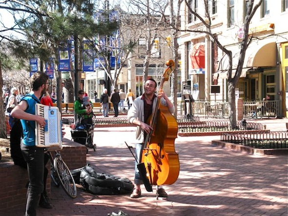 Music in air as Boulder downtown thaws out.