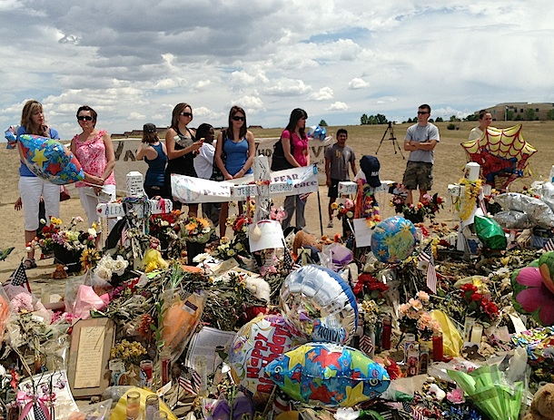 The makeshift memorial across Potomac Ave from the Century 16 theater. (Boulder Reporter photo)