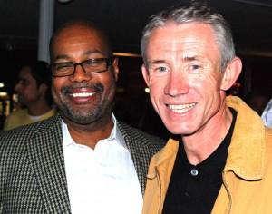 Andre Pettigrew, left, executive director of Denver's Office of Economic Development, with Geoff Cooper, CEO of CaraSolva.