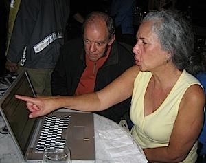 Election night: Elizabeth Allen and Larry Bingham watch the returns at progressives' gathering at Hotel Boulderado