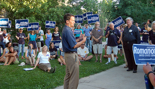 <cutline>Romanoff at Boulder rally this month</cutline>