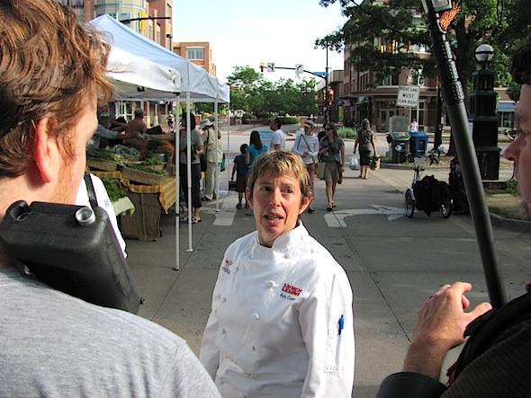 Boulder's school lunch maven Ann Cooper being videod for lunchbox.org