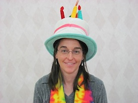 <cutline>Kelly Simmons, program manager at the CU Environmental Center's Sustainable Practices Program, was festooned for the event.</cutline>