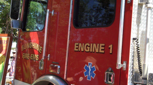 <cutline>A Sunshine fire truck at Green Streets (Reporter photo)</cutline>