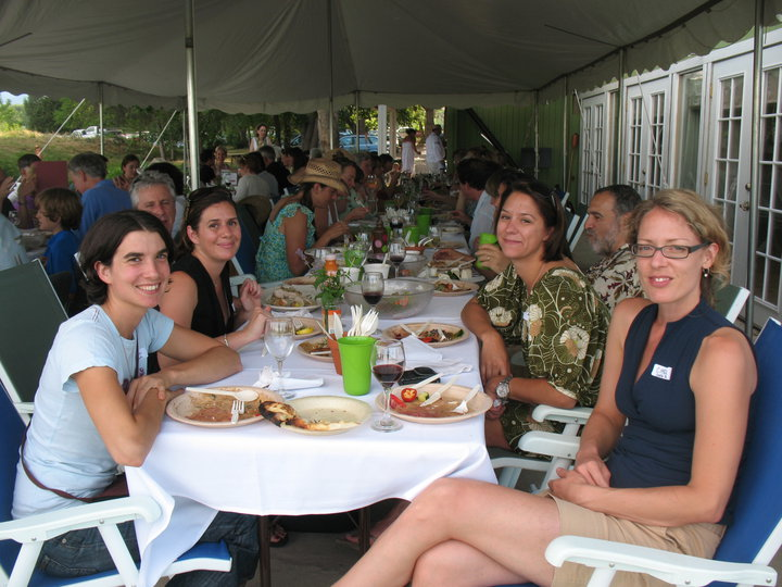 The gang at one of two long, long dinner tables. Tent, it turned out, not needed.