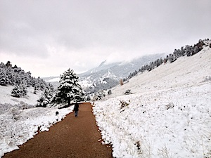 <strong>WHITE SURPRISE:</strong> <em>Mt. Sanitas and a distant Flagstaff looked ethereal after light overnight snow.</em>
